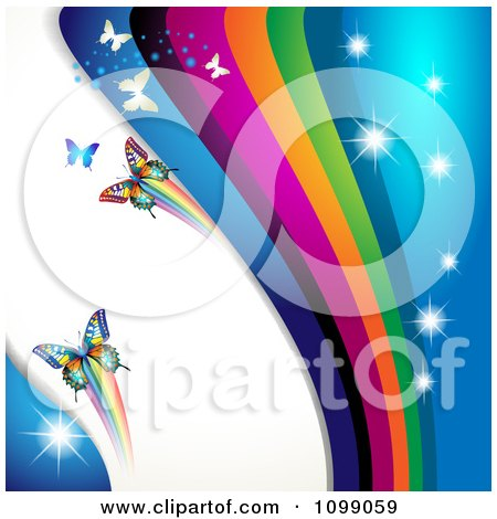 Clipart Background Of Butterflies With Rainbow Waves And Sparkles - Royalty Free Vector Illustration by merlinul