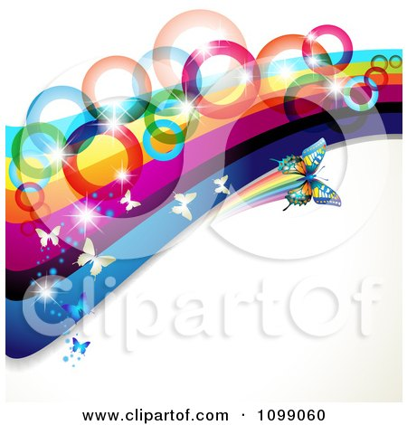 Clipart Background Of Butterflies Flying With Rainbow Waves And Circles - Royalty Free Vector Illustration by merlinul