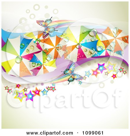 Clipart Wave Of Colorful Wet Umbrellas Butterflies And Stars Over Dots And Mesh - Royalty Free Vector Illustration by merlinul