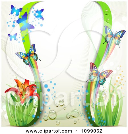 Clipart Background Of Butterflies Green Waves And A Lily - Royalty Free Vector Illustration by merlinul