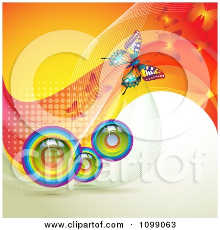 Clipart Background Of Butterflies With Mesh Waves And Rainbow Orbs - Royalty Free Vector Illustration by merlinul