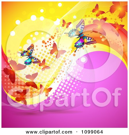 Clipart Background Of Butterflies With Mesh Waves And Dots - Royalty Free Vector Illustration by merlinul