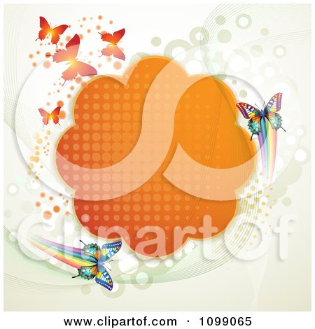 Clipart Background Of Butterflies With An Orange Cloud Frame And Dots - Royalty Free Vector Illustration by merlinul