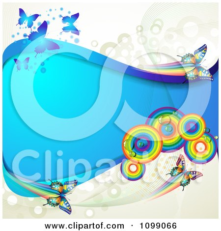 Clipart Background Of Butterflies With Rainbow Circles Dots And A Blue Wave - Royalty Free Vector Illustration by merlinul