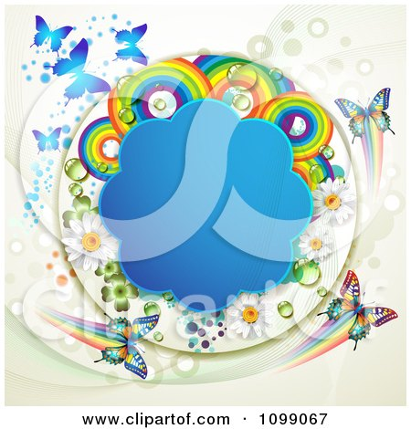 Clipart Background Of Butterflies With A Blue Cloud Frame Flowers Rainbows Dots And Shamrocks - Royalty Free Vector Illustration by merlinul