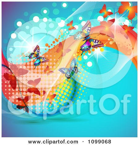 Clipart Background Of Butterflies With Mesh Waves Dots On Blue - Royalty Free Vector Illustration by merlinul