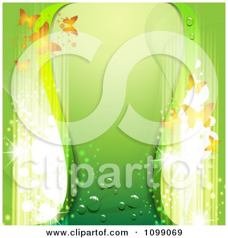 Clipart Green Background With Butterflies And Magic Lights - Royalty Free Vector Illustration by merlinul