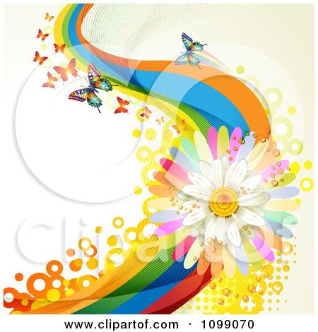 Clipart Background Of Butterflies With Rainbow Waves Circles And A Daisy - Royalty Free Vector Illustration by merlinul