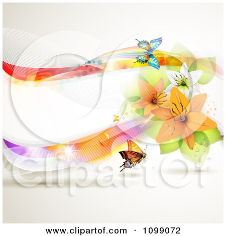 Clipart Background Of A Colorful Wave With Lilies And Butterflies - Royalty Free Vector Illustration by merlinul