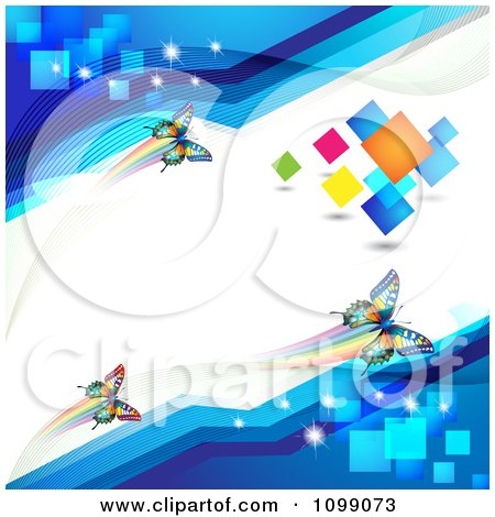 Clipart Colorful Butterflies On A White Line With Blue Corners And Colorful Squares - Royalty Free Vector Illustration by merlinul