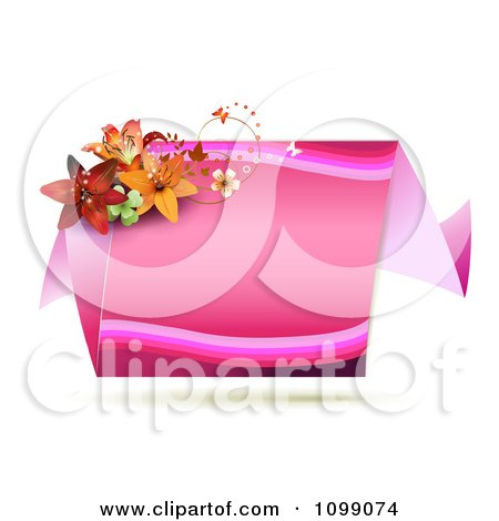 Clipart Pink Origami Banner With Butterflies And Lilies - Royalty Free Vector Illustration by merlinul