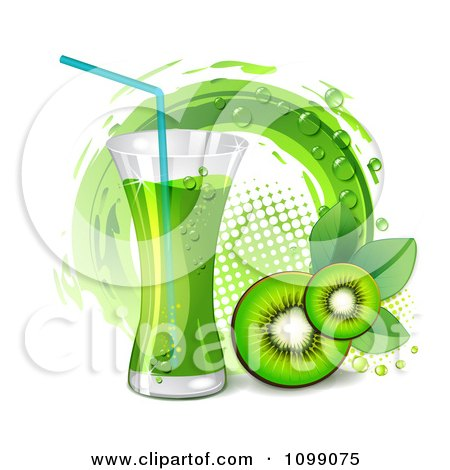 Clipart Kiwi Beverage With Slices And A Halftone Circle - Royalty Free Vector Illustration by merlinul