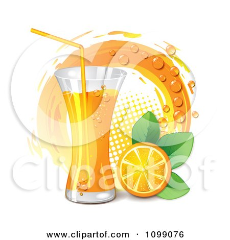 Clipart Tall Glass Of Orange Juice With A Slice Leaves And Circle - Royalty Free Vector Illustration by merlinul
