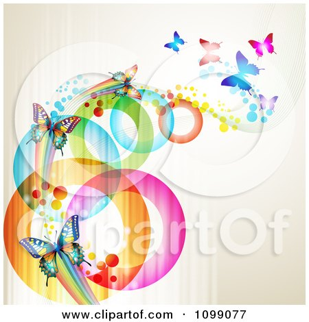 Clipart Background Of Butterflies With Streaks And Colorful Circles - Royalty Free Vector Illustration by merlinul