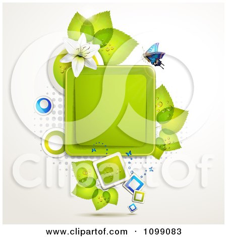 Clipart Background Of A Butterfly With A White Lily And Leaves Around A Square Frame - Royalty Free Vector Illustration by merlinul