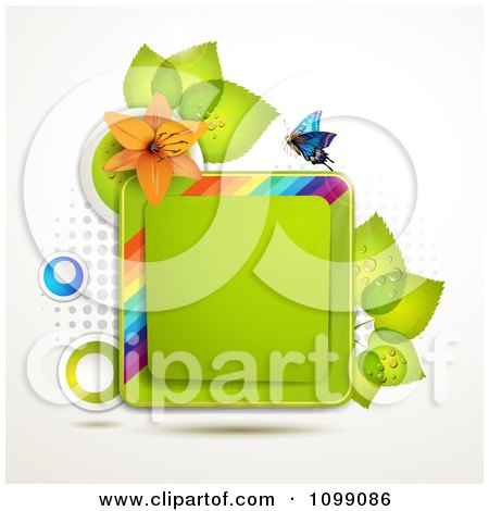 Clipart Background Of A Butterfly With An Orange Lily And Leaves Around A Square Frame - Royalty Free Vector Illustration by merlinul