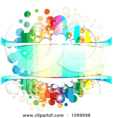 Clipart Background Of A Dewy Splatter Frame With Rainbow Stripes And Dots - Royalty Free Vector Illustration by merlinul