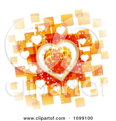 Clipart Valentines Background Of Hearts Over Orange Squares On White - Royalty Free Vector Illustration by merlinul