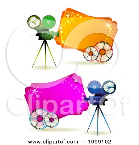 Clipart Movie Cameras With Reels Over Pink And Orange Banners - Royalty Free Vector Illustration by merlinul