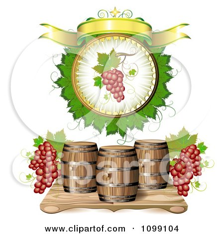 Clipart Blank Banner With Red Grapes And Wine Barrels - Royalty Free Vector Illustration by merlinul