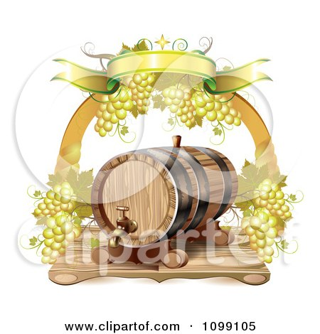 Clipart Arch Of White Grapes And A Banner Over A Wine Barrel - Royalty Free Vector Illustration by merlinul