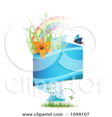Clipart Blue Origami Banner With Grass Butterflies Rainbow And Red Lily - Royalty Free Vector Illustration by merlinul
