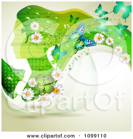 Background Of A Green Profiled Woman With Long Hair Butterflies Shamrocks And Daisies Posters, Art Prints