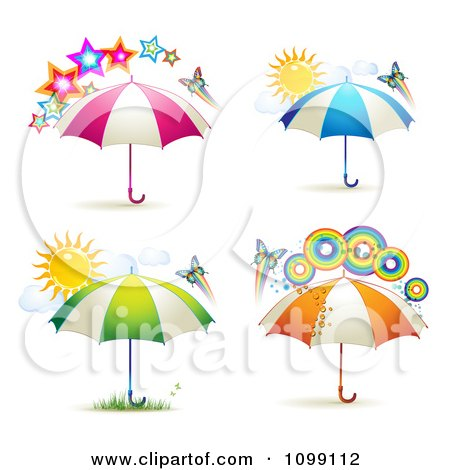 Clipart Butterflies With Rainbows Suns Stars And Colorful Umbrellas - Royalty Free Vector Illustration by merlinul