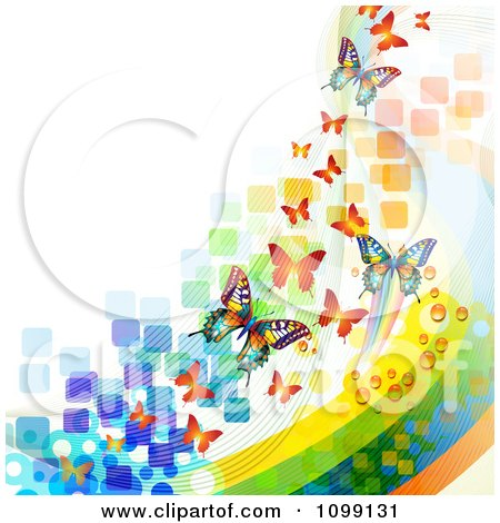 Clipart Background Of Butterflies With Colorful Waves Mesh And Squares - Royalty Free Vector Illustration by merlinul
