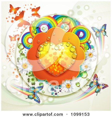 Clipart Dewy Orange Heart With Rainbow Circles Dew Flowers Shamrocks And Butterflies - Royalty Free Vector Illustration by merlinul