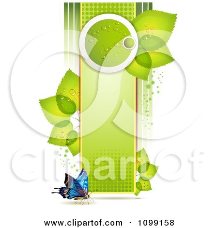 Clipart Background Of A Butterfly With A Vertical Green Banner And Leaves - Royalty Free Vector Illustration by merlinul