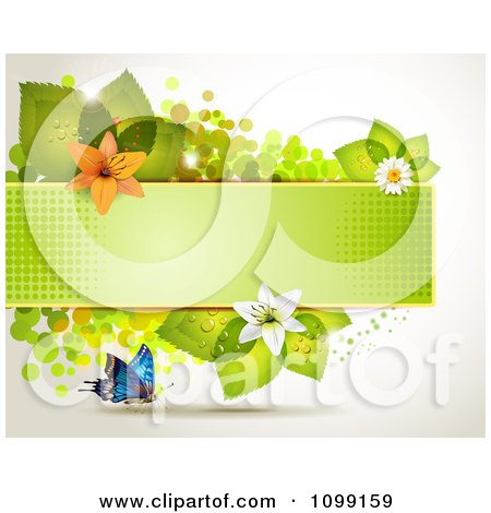 Clipart Background Of A Butterfly With A Green Banner Flowers And Leaves - Royalty Free Vector Illustration by merlinul