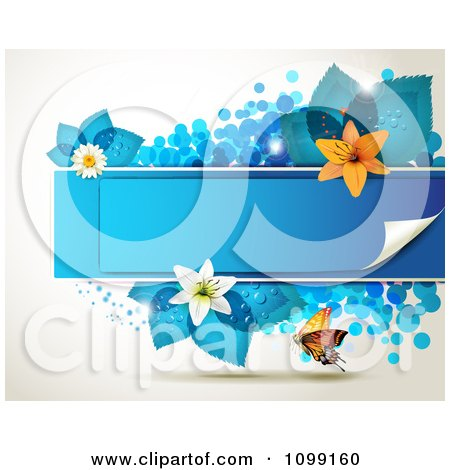 Clipart Background Of A Butterfly With A Blue Banner Flowers And Leaves - Royalty Free Vector Illustration by merlinul
