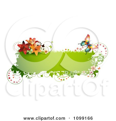 Clipart Green Grassy Butterfly Banner With Flowers And Shamrocks - Royalty Free Vector Illustration by merlinul