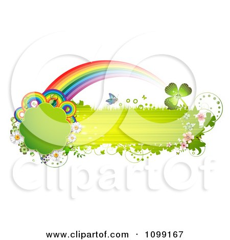 Clipart Green Grassy Butterfly Banner With Flowers Rainbows And Shamrocks - Royalty Free Vector Illustration by merlinul