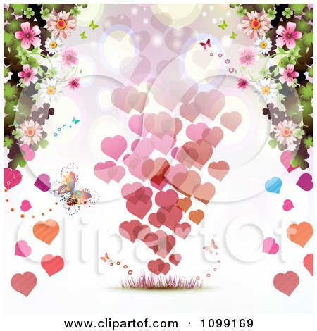 Clipart Valentines Day Background Of Floating Hearts Borderd With Butterflies And Blossoms - Royalty Free Vector Illustration by merlinul