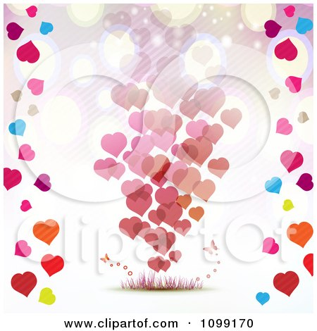 Clipart Valentines Day Background Of Floating Hearts Borderd With Colorful Hearts - Royalty Free Vector Illustration by merlinul