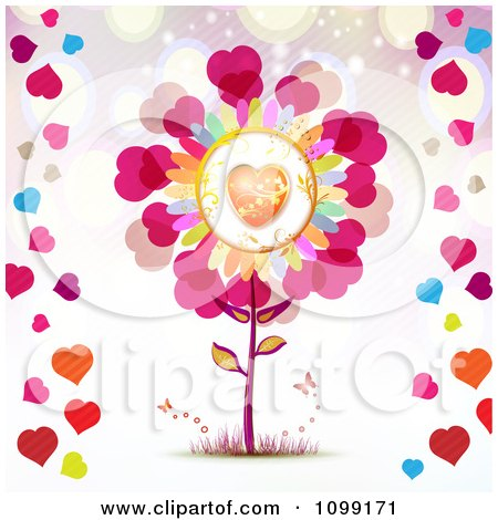 Clipart Love Flower With Butterflies And Colorful Hearts - Royalty Free Vector Illustration by merlinul