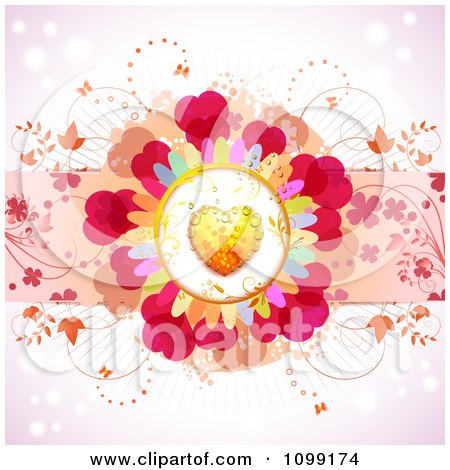 Clipart Dewy Orange Heart Flower With Vines On Pink - Royalty Free Vector Illustration by merlinul
