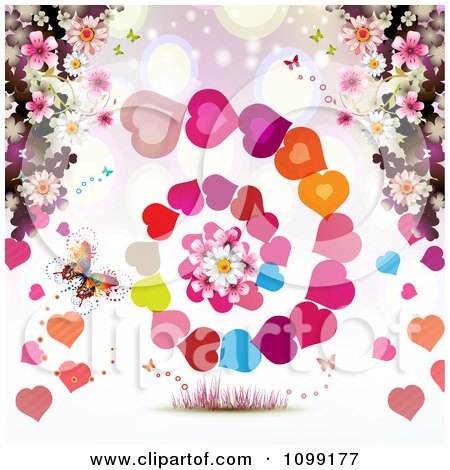 Clipart Background Of A Butterfly Blossoms And Spiraling Hearts - Royalty Free Vector Illustration by merlinul