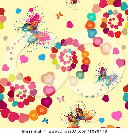 Clipart Background Of Butterflies Blossoms And Spiraling Hearts On Beige - Royalty Free Vector Illustration by merlinul