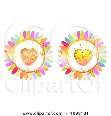 Clipart Dewy Orange And Gold And Orange Heart Flowers - Royalty Free Vector Illustration by merlinul