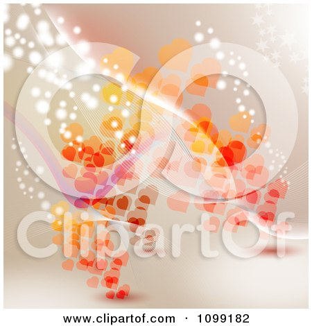 Clipart Valentine Background Of Red And Orange Hearts Waves And Sparkling Lights On Beige - Royalty Free Vector Illustration by merlinul