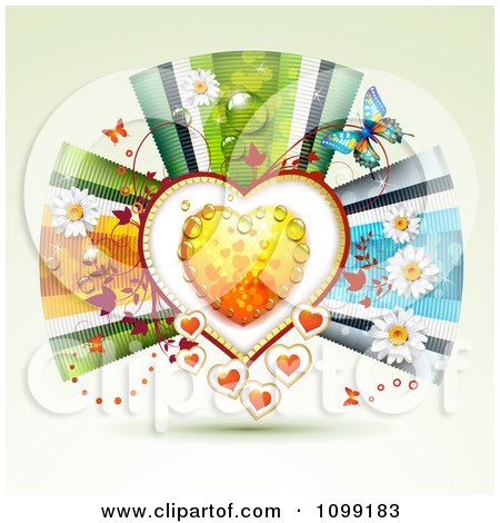 Clipart Background Of A Dewy Orange Heart Framed With Vines Butterflies Flowers And Ribbons - Royalty Free Vector Illustration by merlinul