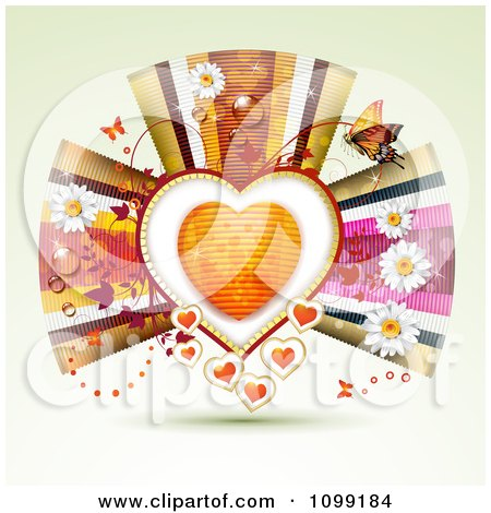 Clipart Background Of An Orange Heart Framed With Vines Butterflies Flowers And Ribbons - Royalty Free Vector Illustration by merlinul