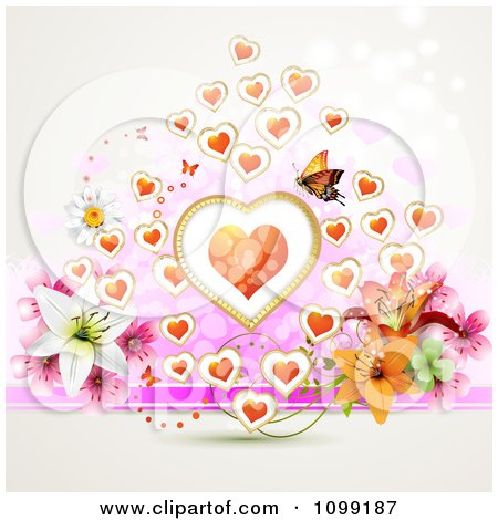 Clipart Valentine Or Wedding Background Of Flowers Hearts And A Butterfly - Royalty Free Vector Illustration by merlinul