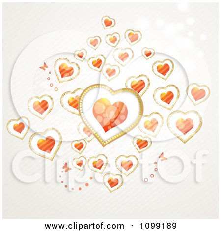 Clipart Background Of Butterflies And Floating Hearts - Royalty Free Vector Illustration by merlinul