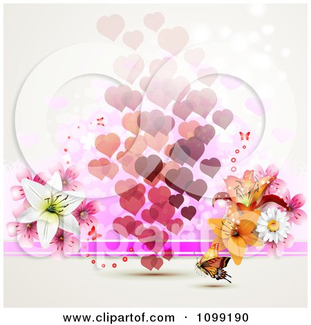 Clipart Background Of Floating Hearts With Flowers And An Orange Butterfly - Royalty Free Vector Illustration by merlinul