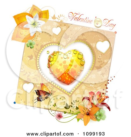 Clipart Valentines Day Greeting Over A Dewy Orange Heart And Floral Butterfly Card - Royalty Free Vector Illustration by merlinul