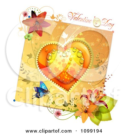 Clipart Valentines Day Greeting Over A Dewy Orange Heart And Floral Card - Royalty Free Vector Illustration by merlinul